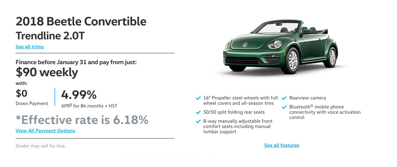 January Beetle Convertible Offer